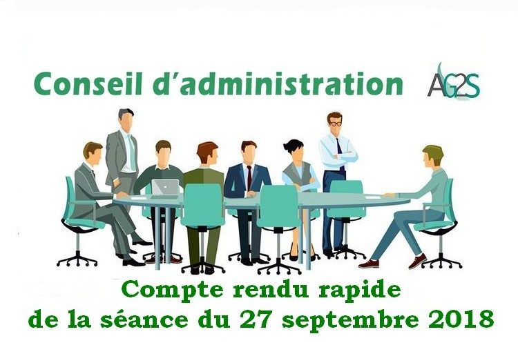 Conseil d'administration AG2S : séance du 27 septembre 2018