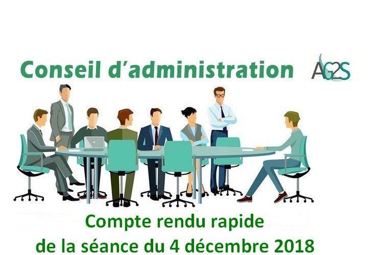 Conseil d'administration AG2S : séance du 4 décembre 2018