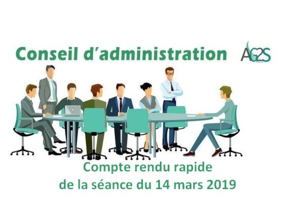 Conseil d'Administration AG2S : séance du 14 mars 2019
