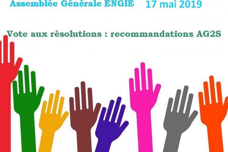 AG Engie 2019 : Vote aux résolutions : propositions AG2S