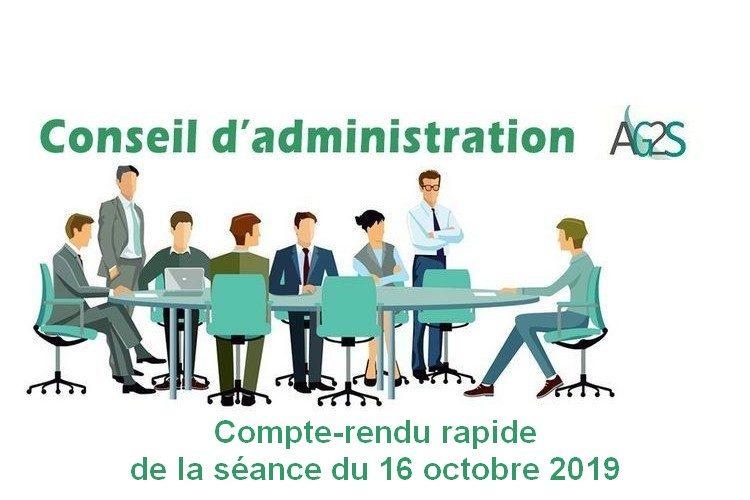 Conseil d'Administration AG2S : séance du 16 octobre 2019