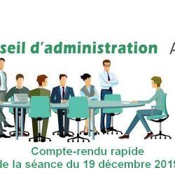 Conseil d'Administration AG2S : séance du 19 décembre 2019