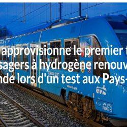 ENGIE approvisionne le premier train de passagers à hydrogène