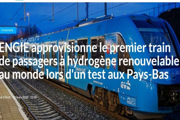 ENGIE approvisionne le premier train de passagers à hydrogène