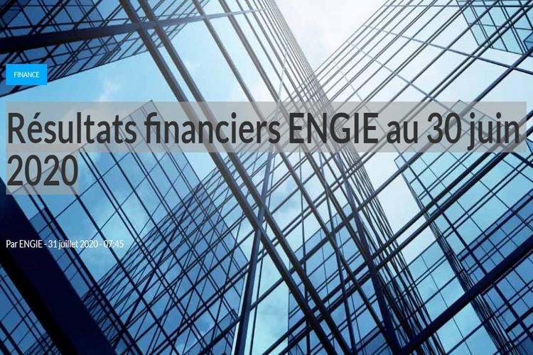 Résultats financiers ENGIE au 30 juin 2020